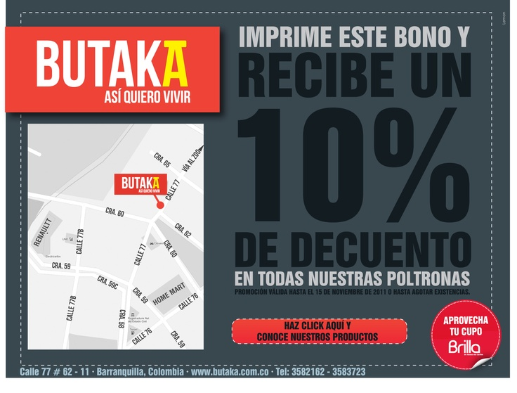 Diseño de Bono HTML para envío masivo vía E-mail - BUTAKA MUEBLES - Octubre de 2011 - Por Jorge Andrés Renowitzky N- CEO en Lemon | Agencia de Medios y Publicidad. www.agencialemon.com — en Barranquilla- Atlantico, Colombia.