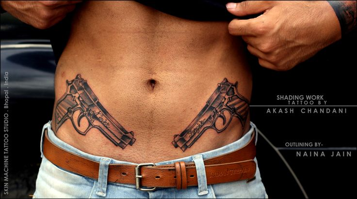 Symmetrical Guns tattoo done on @anmoljeswani the toughest dude ever ! Who came all the way from Gwalior to get this done! Finished this for today..   Outlines by @nains_tattoos ,  Shades by  Akash Chandani   Hope u guys like this too  #guntattoo #hardwork #art #pistol #waisttattoo #ribtattoo #tattoo #tattoos #tattooed #tattoomaking #inked #inkman #inkedmen #guntattoo #guyswithstyle #guyswithtattoos #gangster #swag #like4like #followme #follow4follow #artist