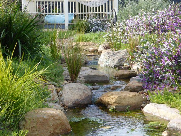 Meandering creek in a native style garden.
