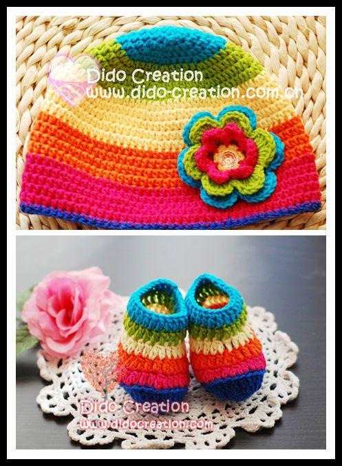 Шляпа обувь/установить Handmade Крючком вязание Детская радуга новорожденного подарок flowercotton Бесплатная доставка