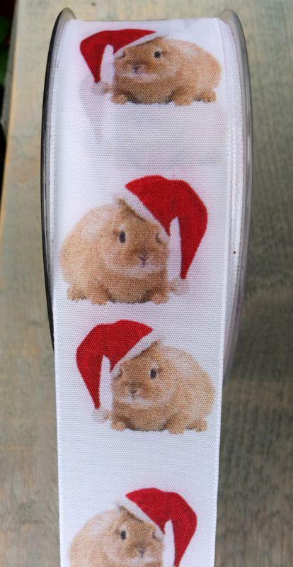 """Lint bedrukt  """"Kerst konijn"""""""