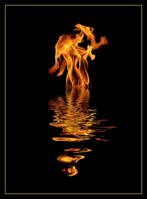 Beautiful fire reflection.