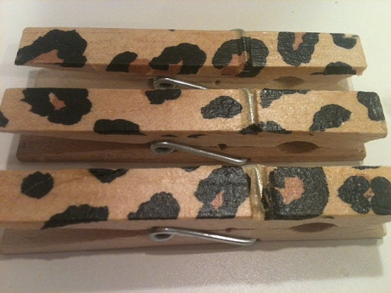 Set of 12 leopard print clothespins to match my baby by wrapsidazy, $12.00