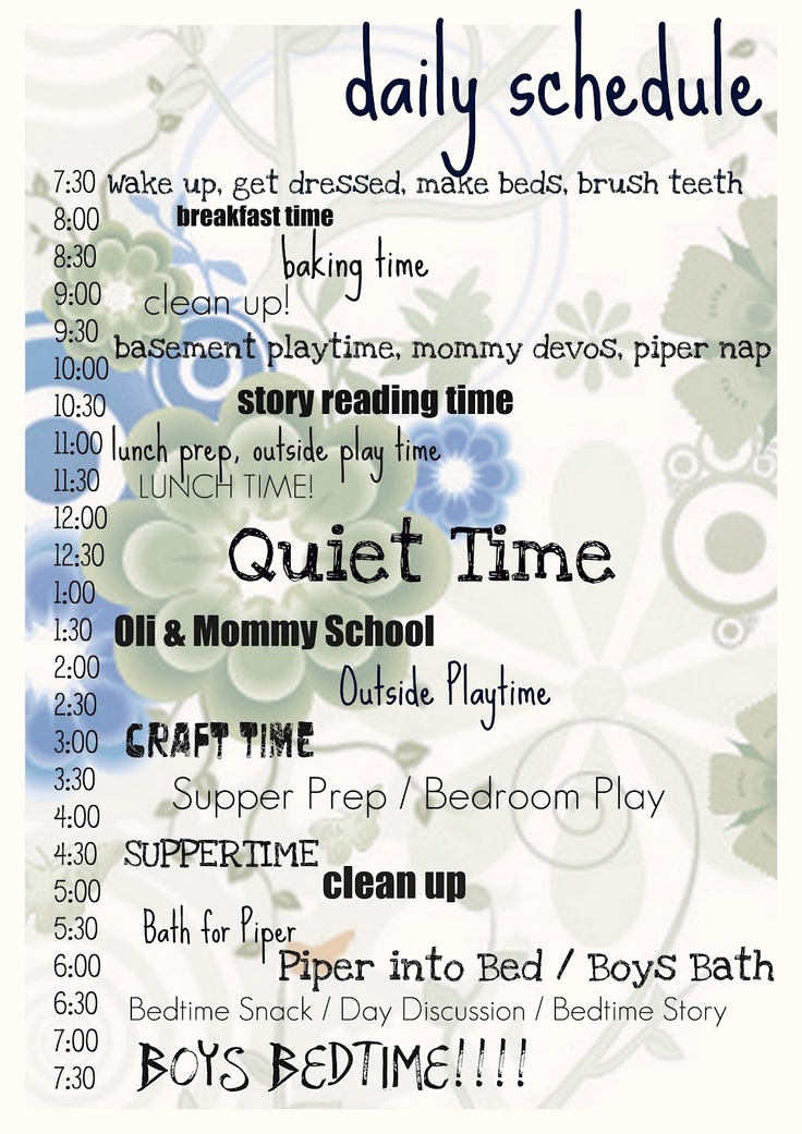 Daily routine (super nanny style) | babies things to do ...