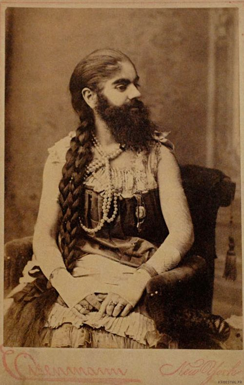 Portrait of bearded lady Annie Jones, New York, United States, 1819, photograph by Charles Eisenmann.