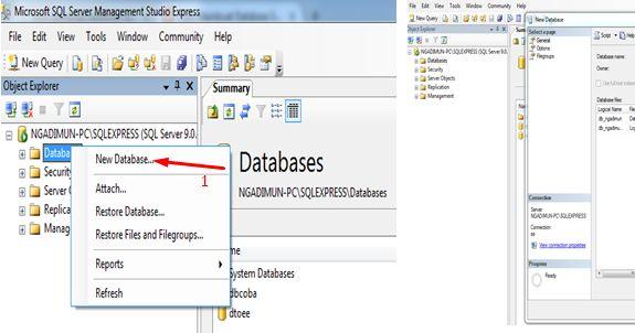 Cara Membuat database SQL Server http://goo.gl/BY7Kyj
