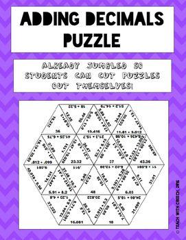 Adding Decimals Puzzle - Math Games