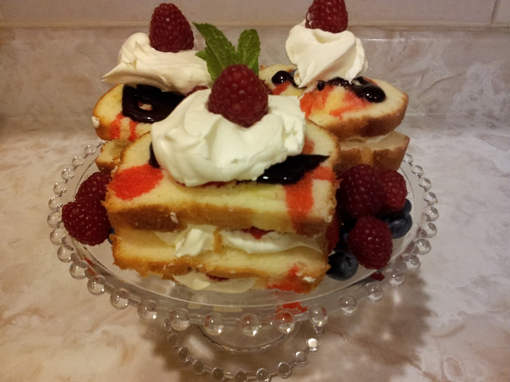 Layered pound cake filled with creme fraiche drizzle with grenadine ...
