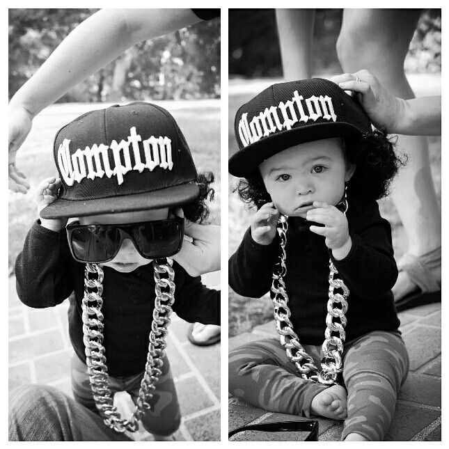 Easy Baby Halloween Costume Eazy-E! Compton Hat and Chain from Amazon, Black onesie from Old Navy and Camo pants from Carter's!