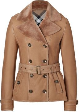 Burberry Shearling Chedleigh Jacket in Sesame