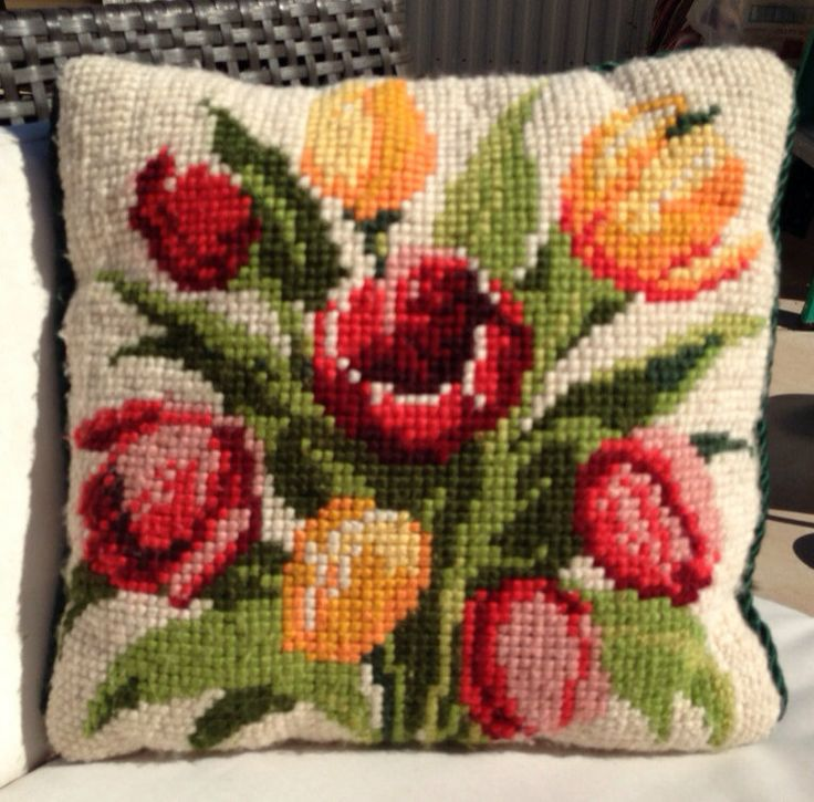 Tulips Needlepoint Pillow by GailsVintageGarden on Etsy, $42.00