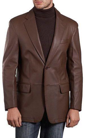Mens Lambskin Choco Brown Leather Blazer