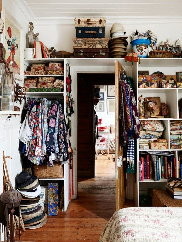 We're not supposed to live in the closet, but what if it's this beautiful? Lovely Bohemian closet, via Moon to Moon: The Home of Greg Irvine | Tiny Homes