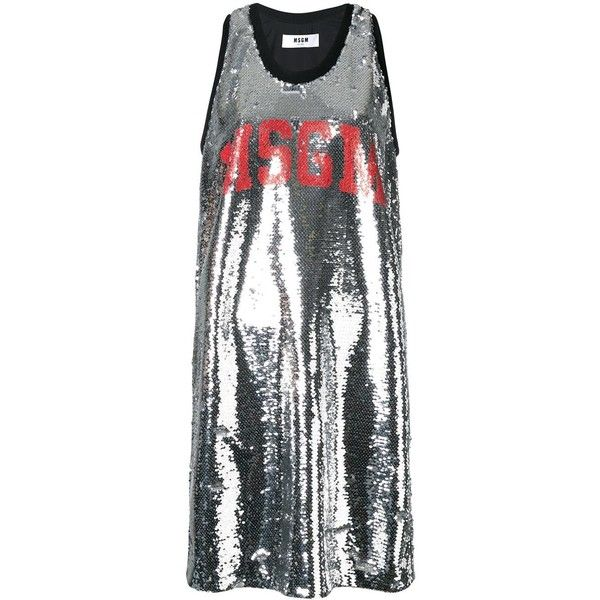 MSGM sequinned tank dress (€235) ❤ liked on Polyvore featuring dresses, grey, grey cocktail dress, gray sequin dress, grey sequin dress, grey dresses and metallic sequin dress