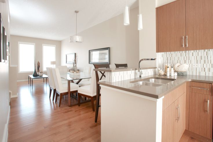 Open concept Lshaped kitchen with stainless steel appliances quartz countertops Caesarstone