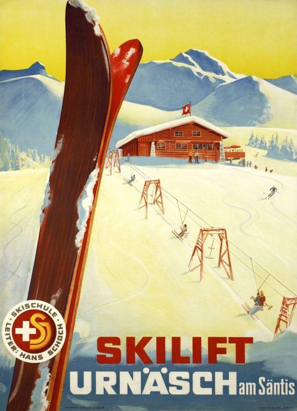 """Urnäsch, Skilift am Säntis   (Blank Atelier / 1944) Large swiss size poster for the """"Urnäsch"""" skilift on the Säntis mountain in Switzerland."""