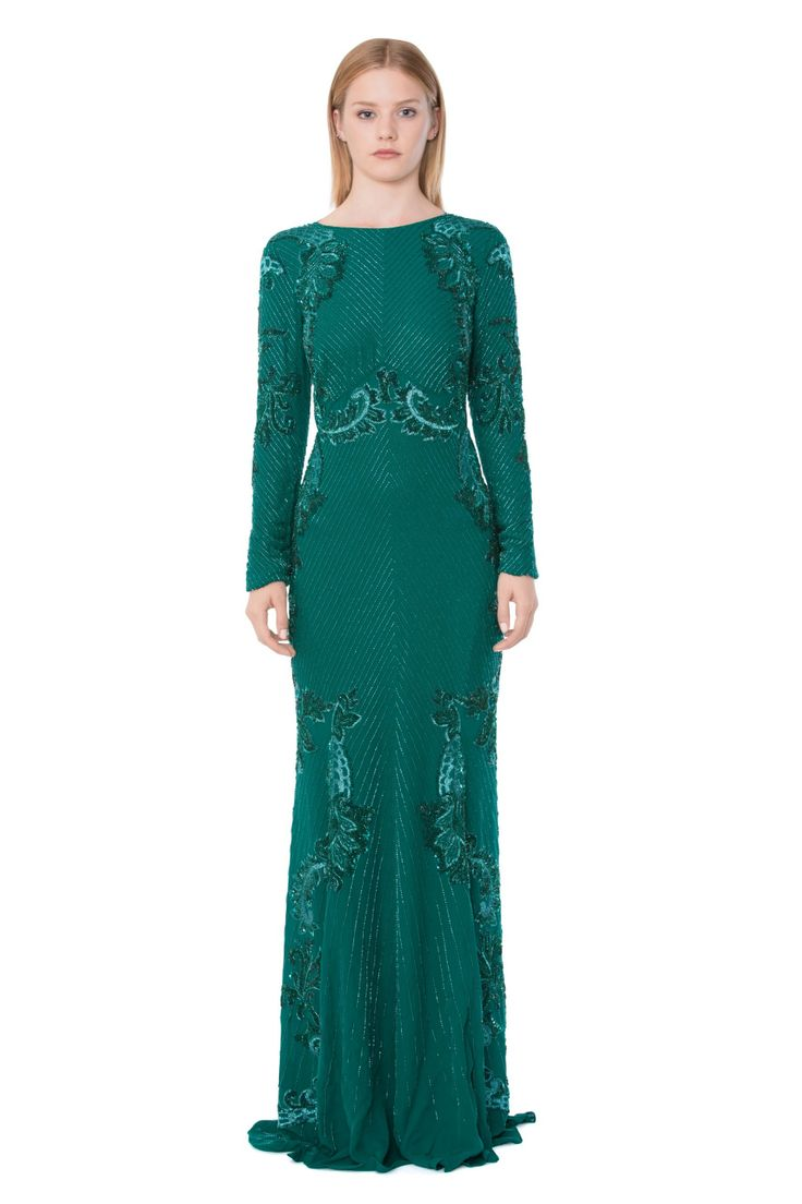 Vestido Largo con Bordado de Lentejuelas - Vestidos Largos - Moda - Mujer   Roberto Cavalli Spain