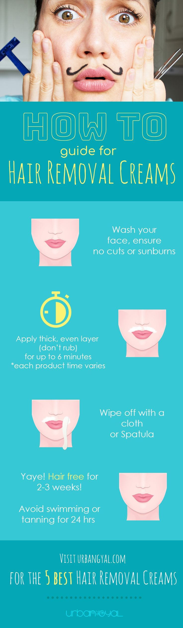 How to Apply Hair Removal Creams to painlessly remove facial hair in a matter of minutes!  Facial Hair has officially overstayed its welcome and time to go!