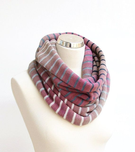 Cotton knit infinity scarf by rukkola on Etsy. #knitinfinityscarf #cottonscarf #ombrescarf