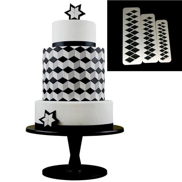 3Pcs//Set Geometric Cake Mold Plastic Cookie Fondant Cutter Tool Dessert Decor