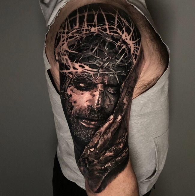 Passion Of Jesus Sleeve Black And Grey Tattoos Black Tattoos Sleeve Tattoos