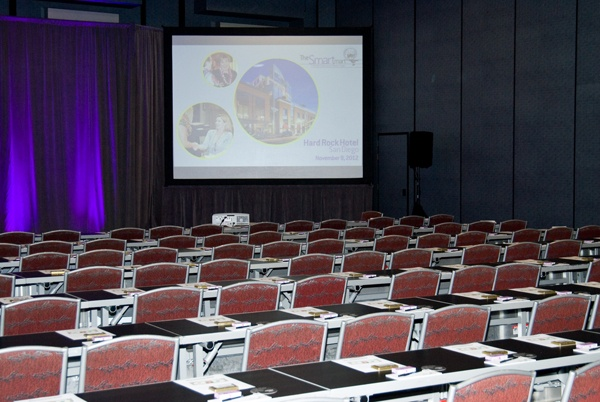 Meeting room at Hard Rock Hotel San Diego, all set up for The Smart Mart education session - Photo by Regala Studio