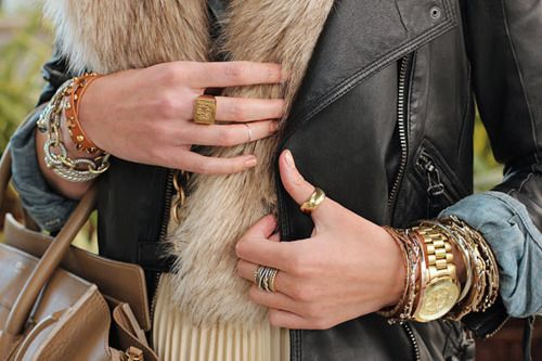 arm party. love the monogram ring, I want!!Atlantic Pacific, Fashion, Style, Bracelets, Fur, Leather Jackets, Accessories, Arm Candies, Arm Parties