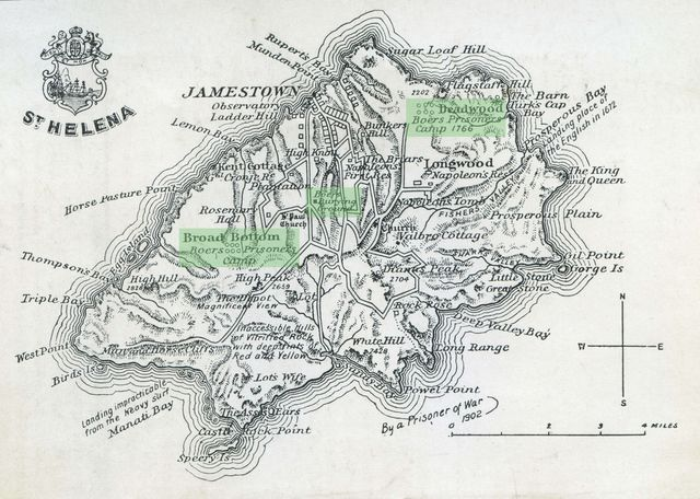 Photos from Anglo Boere Oorlog/Boer War (1899-1902) POW Saint Helena St. Helena, Jackson Map,1903 Scanned from Jackson, E. L. St Helena: The Historic Island, Ward, Lock & Co, London, 1903.
