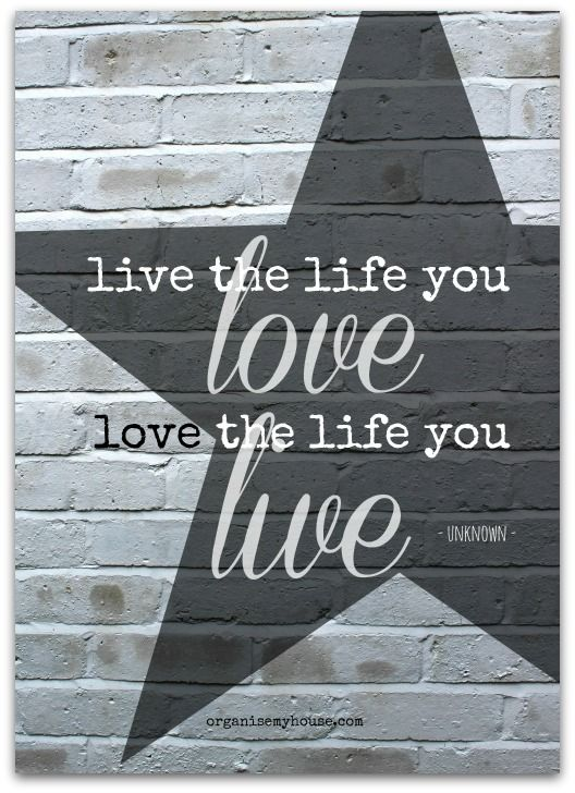 "motivational quote - ""Live the life you love, love the life you live"""