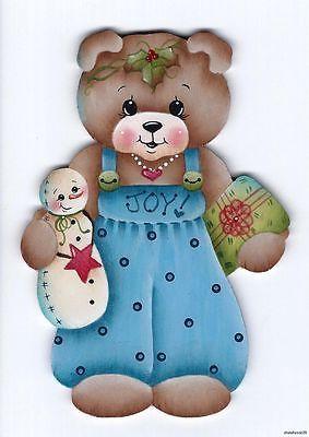 CHRISTMAS TEDDY BEAR WITH SNOWMAN CLIP ART