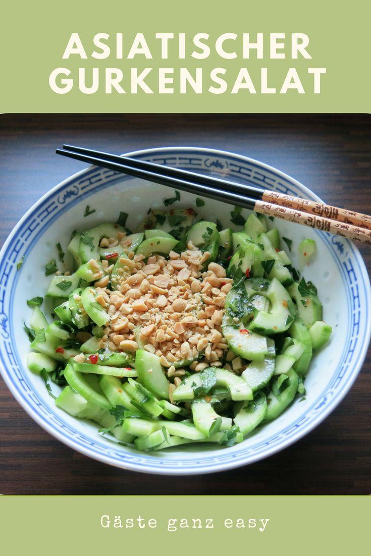 Gurkensalat Asia-Style mit Erdnüssen. Der Clou ist das Dressing mit Fisch- und Chilisauce. Einfach, wenige Zutaten - und trotzdem gut und besonders.