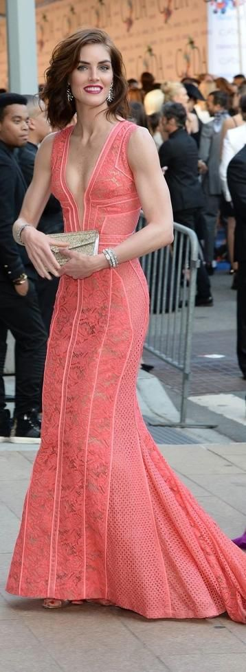 Spring / Summer - dressy style - party style - deep v-neck coral fitted gown - J Mendel