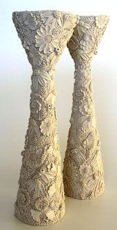 ceramic artist Marlborough New Zealand Fran Maguire potter ceramic artist - 1996 candlesticks