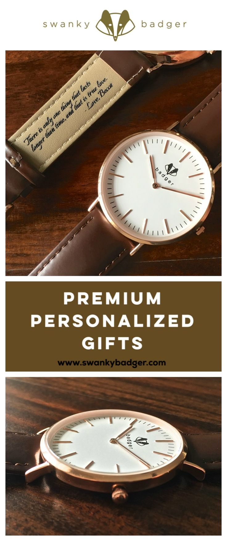 Personalized Rose Gold watch by Swanky Badger www.swankybadger.com is an awesome gift for any special man in your life. Engrave the inside of the band with up to 20 words. www.swankybadger.com