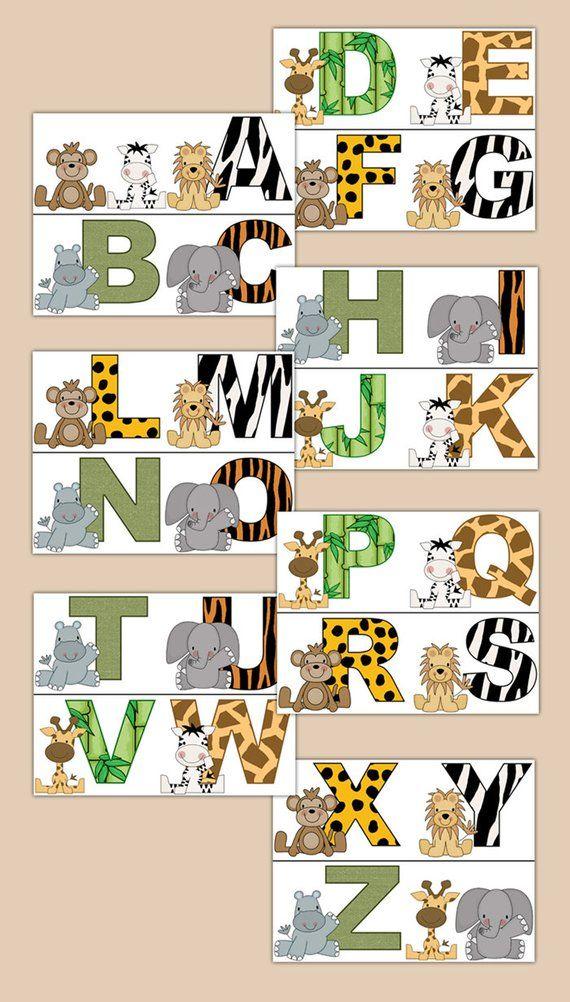 Zebra Print Behang.Jungle Safari Decal Dierlijke Alfabet Behang Grens Wall Etsy