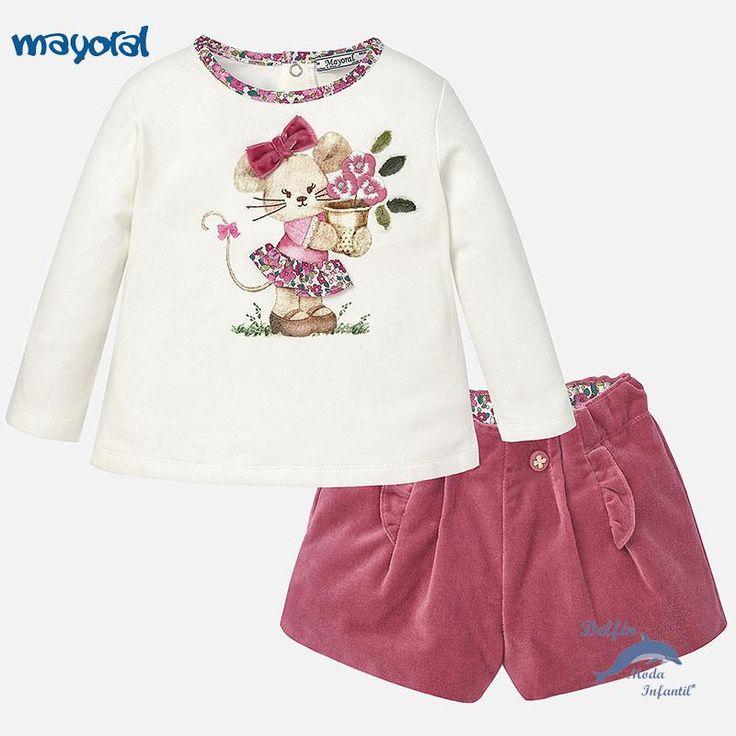 Conjunto de niña bebe MAYORAL de bermuda aterciopelada y camiseta manga larga