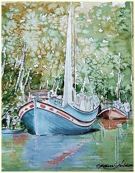 ORHAN GÜLER - Türkish Artist Painter Watercolor SEA ART WORK