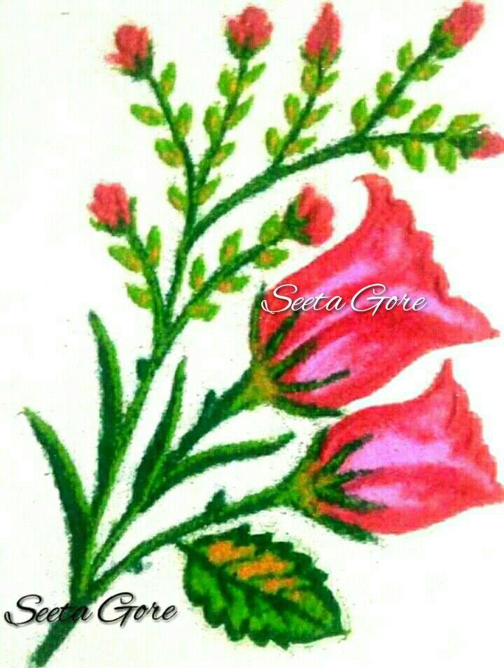 My Rangoli My Art Simple Flower Rose Rangoli 30 Flower Rangoli Rangoli Designs For Competition Rangoli Designs