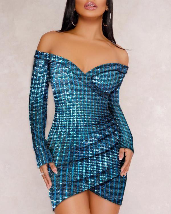 Glitter Off Shoulder geraffte Pailletten, figurbetontes Kleid Nägel | Kunst | Mädchen | polnisch | …   – Nail inspo