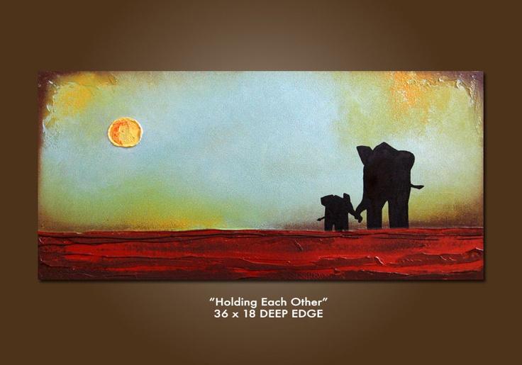 Holding Each Other - HUGE 36 x 18, Heavy Textured Acrylic Art PAINTING on canvas, Contemporary Earthy Elephant Art, Kids Nursery