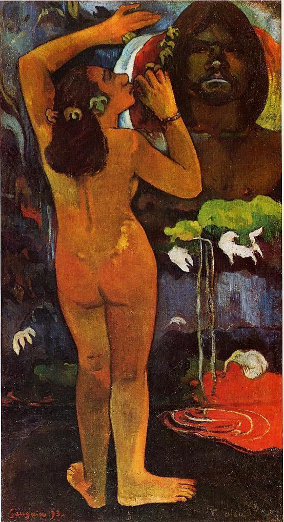 Gauguin. Hina, Diosa de la Luna y Te Fatu, el espíritu de la Tierra (1893) . Museo de Arte Moderno, NY