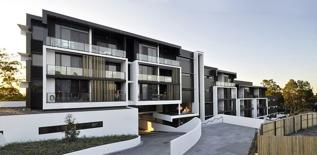 The Village @ Coorparoo, Brisbane - Retirement Village by S3 Architects    Building 1 - Internal Village Elevation + L2 Entry Foyer