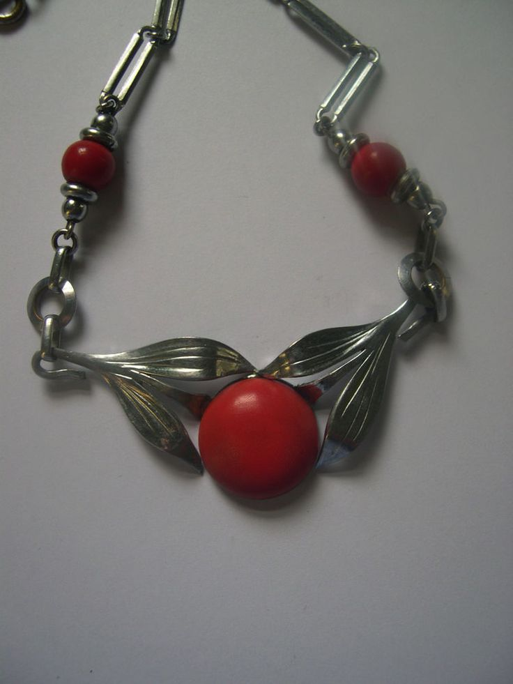 Art Deco chrome and bakelite Jakob Bengel 1930's original necklace #JacobBengel