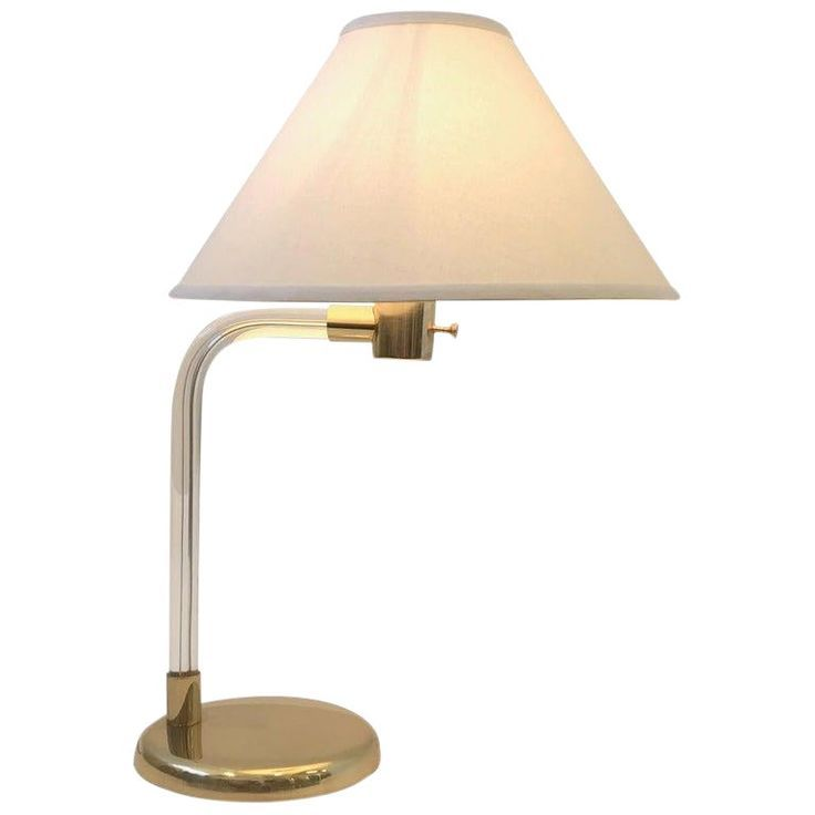 Polish Brass And Acrylic Table Lamp By Peter Hamburger For Knoll