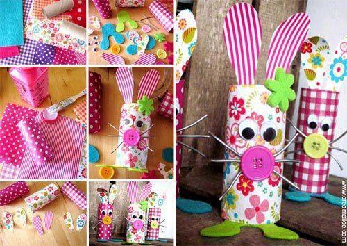 Un autre modèle de lapin avec des rouleaux de papier hygiénique, bouton, jolies papiers, feutrine ou feuilles de mousse, vous pouvez utiliser des cure-pipes pour les moustaches. http://www.creamalice.com/Coin_conseils/1-loisirs_creatifs_2013/3-Tuto_Lapin_de_Paques_Recup/Tuto_DIY_Lapin_de_Paques_Recup.htm