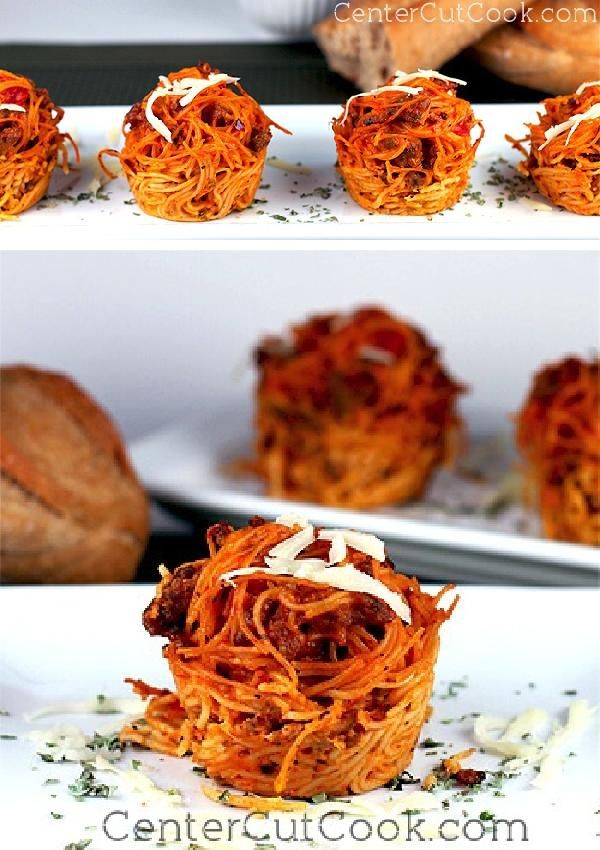 "Angel Hair PASTA combined with your favorite sauce and parmesan cheese, is twisted and baked in muffin tins to form cheesy pasta cups, otherwise known as ""LOVE NESTS."""