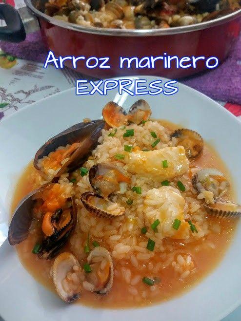 Arroz marinero express, receta marinera sencilla y al alcance de todos. Baja en calorías y rica en vitaminas, proteínas aportadas por los mejillones, hidratos de carbono y vitaminas.
