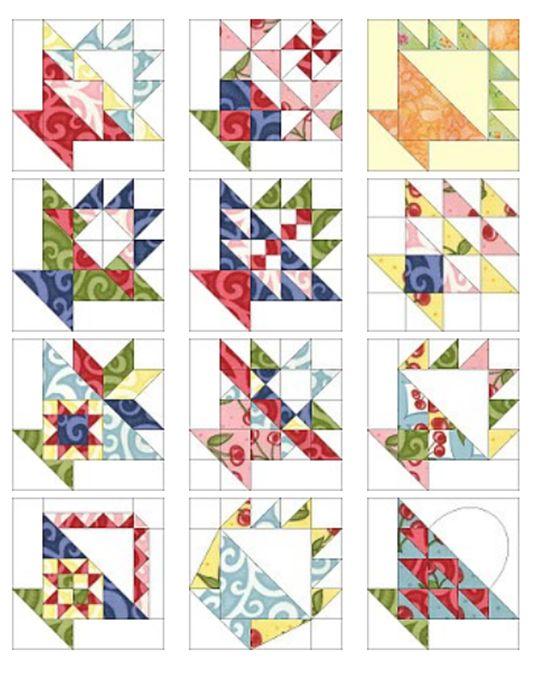 12 FREE Basket quilt block patterns by Sandi Walton at Piecemeal Quilts