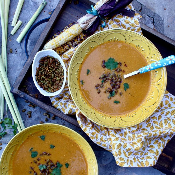 Butternut Squash, Corn, and Lemongrass Soup, with Spiced Pumpkin Seeds