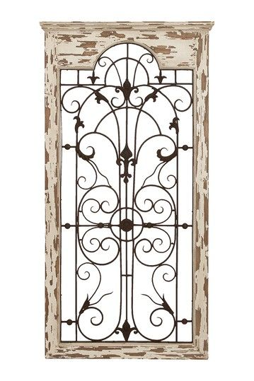 Wood metal wall decor distressed white brown shabby crafts pinterest furniture metal - Metal and wood wall decor ...